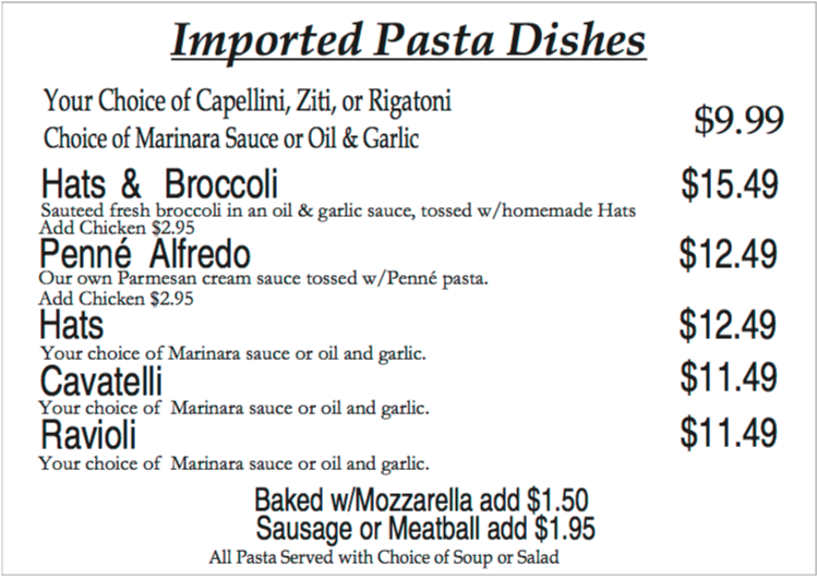 Imported Pasta Dishes