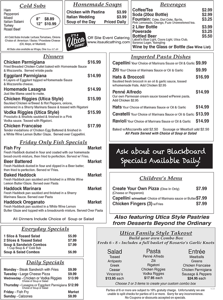 Utica Pizza 2B Menu Take Out October 2020-2