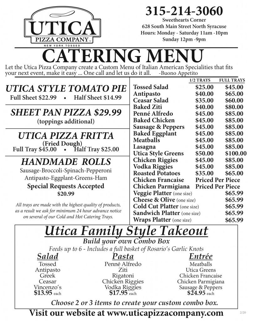 Utica Pizza Catering Menu July 2020
